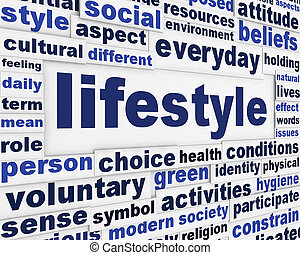Lifestyle creative message background. Happy life word clouds poster design