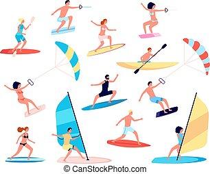 lifestyle., ensemble, mer, sports., extrême, extérieur, vecteur, récréatif, activity., été, océan, loisir, eau, gens, surfer, canoës, planche voile
