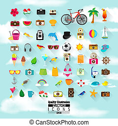 Lifestyle Flat Vector Icon Set : Summer, Hipster, Vintage, Camera, Beach, Sky, Holiday, etc.