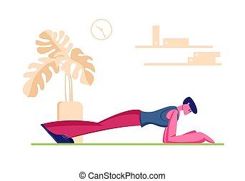lifestyle., flexibilité, sports, corps, exercice, stand, étirage, relaxation, dessin animé, activité, jambes, attitude, arms., home., caractère, vecteur, planche, plat, mâle, pratiquer, homme, jeune, sain, illustration