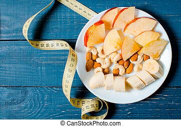 lifestyle., loss., アップル, 重量, ジュース, 健康, cereals., バックグラウンド。, テープ, 食物, measure., オレンジ, 木製である