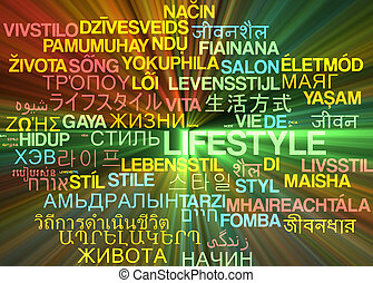 Lifestyle multilanguage wordcloud background concept glowing