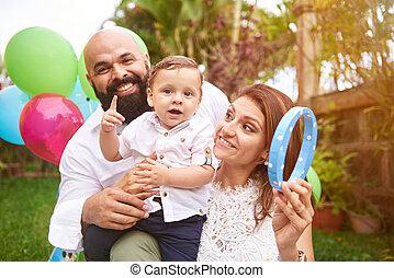 Lifestyle of happy latino family