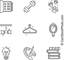 Lifestyle pixel perfect linear icons set. List for work. Sport activities. Empty hanger. Creative hobby. Customizable thin line contour symbols. Isolated vector outline illustrations. Editable strokes