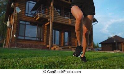 lifestyle., prime, autour de, secteur, sain, résidentiel, matin, courant, girl