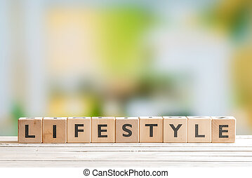 Lifestyle sign on a wooden table - Lifestyle sign with cubes...