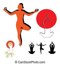 lifestyle., silhouette, ensemble, symbole, sain, vecteur, icône, yoga