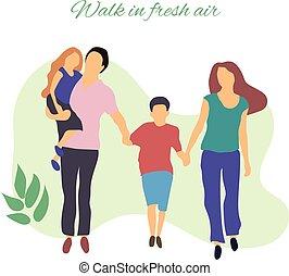 lifestyle.people, lejlighed, illustration., sunde, family., park, unge, luft., gang, stylized, vektor, illustration, aktiv, frisk