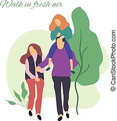 lifestyle.people, plat, illustration., sain, family., parc, jeune, air., promenade, stylisé, vecteur, illustration, actif, frais