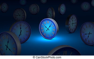 lifetime. Infinity and time. Many blue circular clock. 3D illustration.