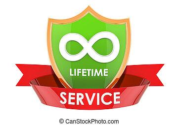 Lifetime service label, badge. 3D rendering
