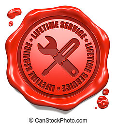 Lifetime Service - Stamp on Red Wax Seal. - Lifetime Service...