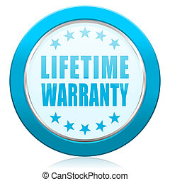 Lifetime warranty blue chrome silver metallic border web icon. Round button for internet and mobile phone application designers.