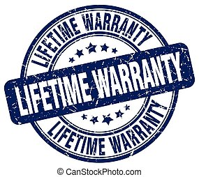 lifetime warranty blue grunge round vintage rubber stamp
