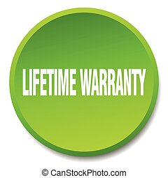 lifetime warranty green round flat isolated push button