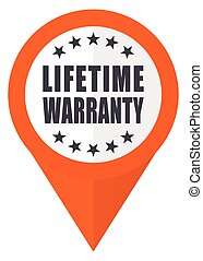 Lifetime warranty orange pointer vector icon in eps 10 isolated on white background.