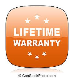 lifetime warranty orange square web design glossy icon