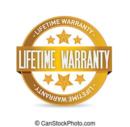 lifetime warranty seal stamp illustration design over a...