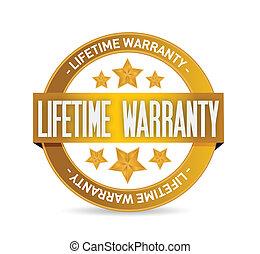 lifetime warranty seal stamp illustration design over a...