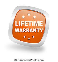 lifetime warranty square orange glossy chrome silver metallic web icon