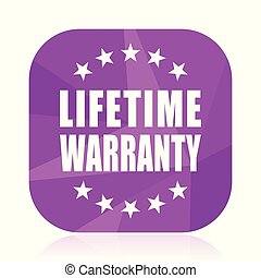 Lifetime warranty violet square vector web icon. Internet design and webdesign button in eps 10. Mobile application sign on white background.