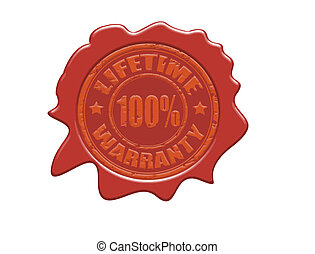 Lifetime warranty wax seal - Wax seal with the text lifetime...