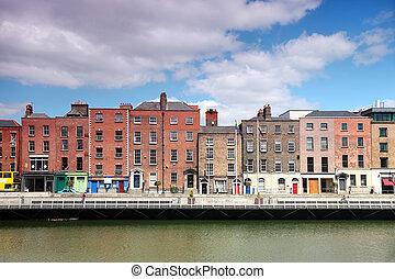 liffey, épületek, színes, nyár, dublin, írország, folyó, nap
