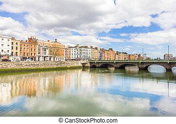 liffey 川, 銀行, ダブリン, アイルランド