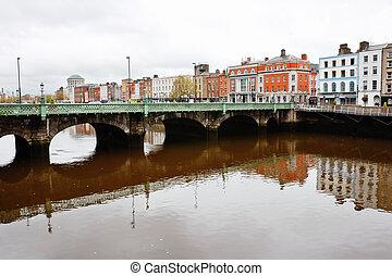 Liffey River. Dublin, Ireland - Grattan Bridge over Liffey...