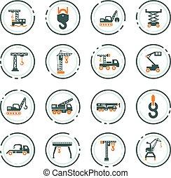 lifing, guindaste, jogo, máquinas, ícone
