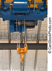 Close up of a factory overhead crane