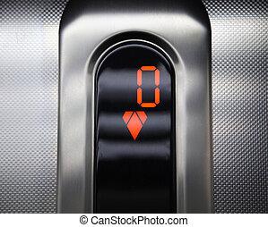 lift, controle, panel., gaan, omlaag.