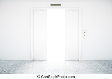 lift deur, met, licht