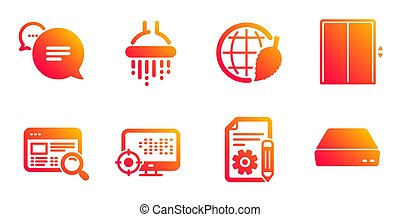 Lift, Documentation and Environment day icons set. Shower, Website search and Seo signs. Vector