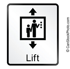 Lift Information Sign - Monochrome lift related public ...