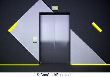 lift, met, gele, verlichting