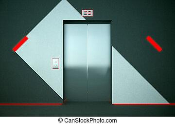 lift, met, rood, verlichting