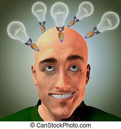 Lift off - Lightbulbs in form of rocket lift above mans head