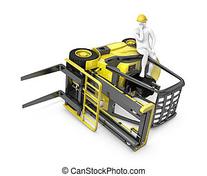 Lift truck flipped on side after falling, isolated on white...