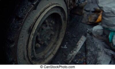 Lift Truck Moving Compressed Metal Scrap. Metal Scrapyard...
