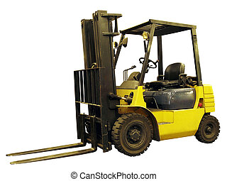 Lift truck - Yellow lift truck isolated on white background