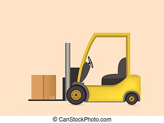 Lift truck with box - Yellow fork lift truck with box....