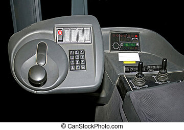 Lifter cockpit - Inside of fork lifter cabin with commands