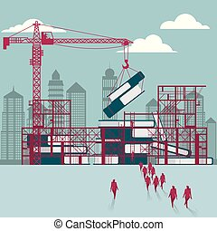 Lifting books use tower cranes. A group of businessmen walked to the building site.