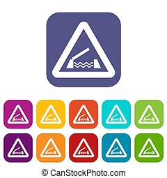 Lifting bridge warning sign icons set