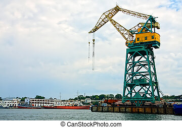 Lifting crane in port