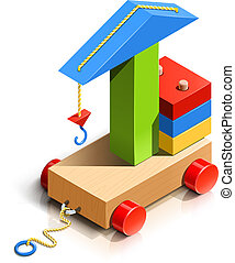 lifting crane, wooden toy vector illustration isolated on...