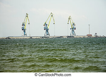 Lifting cranes in sea port