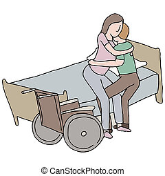 Lifting Disabled Woman - An image of a man lifting a...