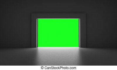 lifting gates with a clearance in a dark room on a green screen